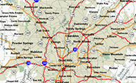 Map with the Greater Atlanta Area